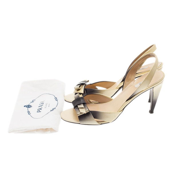 Prada Shaded Leather Bow Slingback Sandals Size 37
