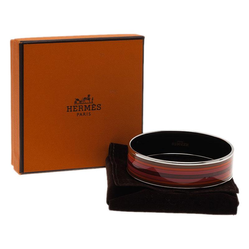 Hermes Wide Printed Belt Design Multi Color Silver-Plated Bangle Bracelet
