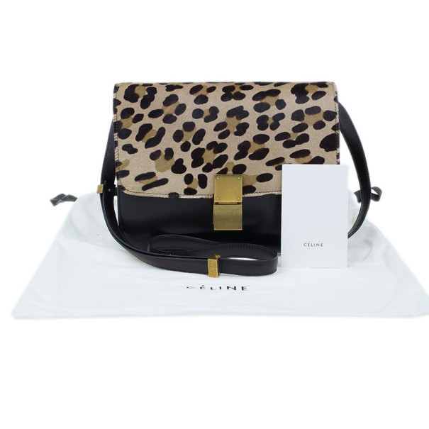 celine leopard print leather handbag cabas