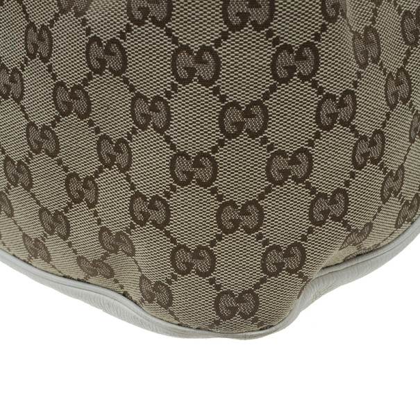 Gucci White Leather Canvas Charlotte Medium Hobo Bag