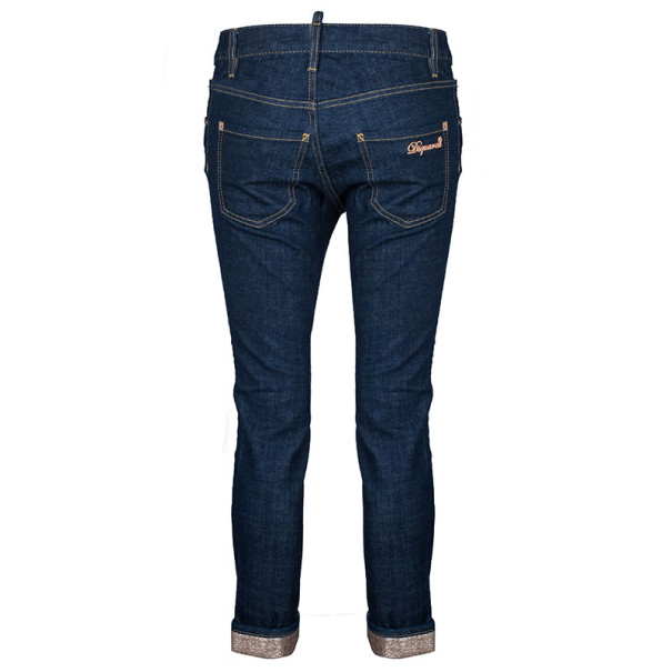 Dsquared2 Blue Cropped Metallic Hem Denim Jeans S