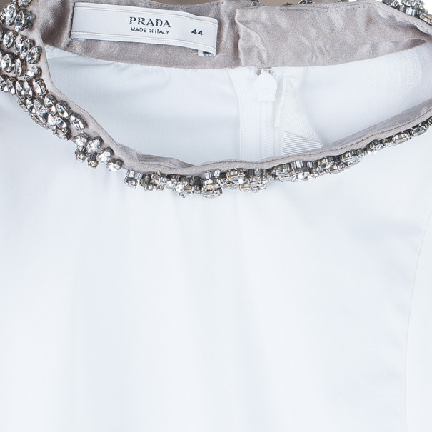 Prada White Embellished Collar Top M