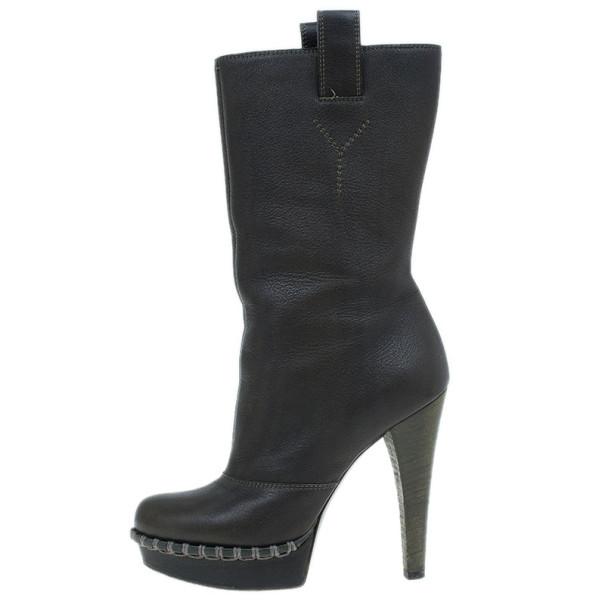 Saint Laurent Paris Brown Leather Coleen Platform Mid Calf Boots Size 37
