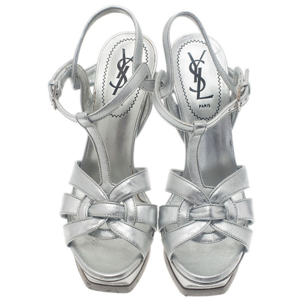Saint Laurent Paris Silver Leather Tribute Platform Sandals Size 37