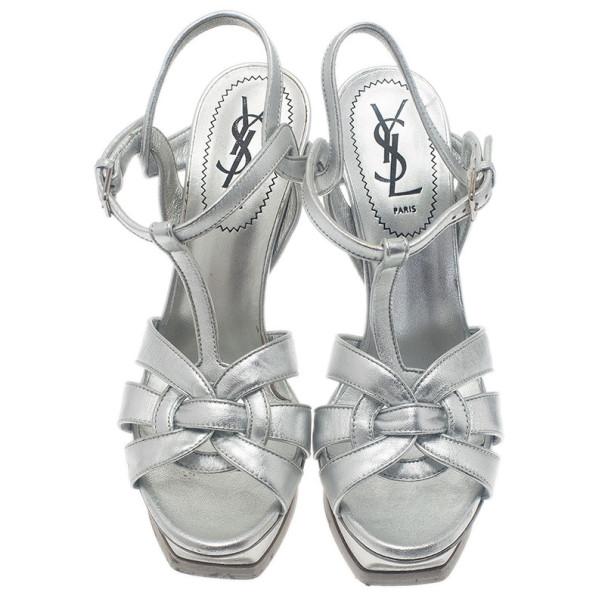 Saint Laurent Paris Silver Leather Tribute Platform Sandals Size 37
