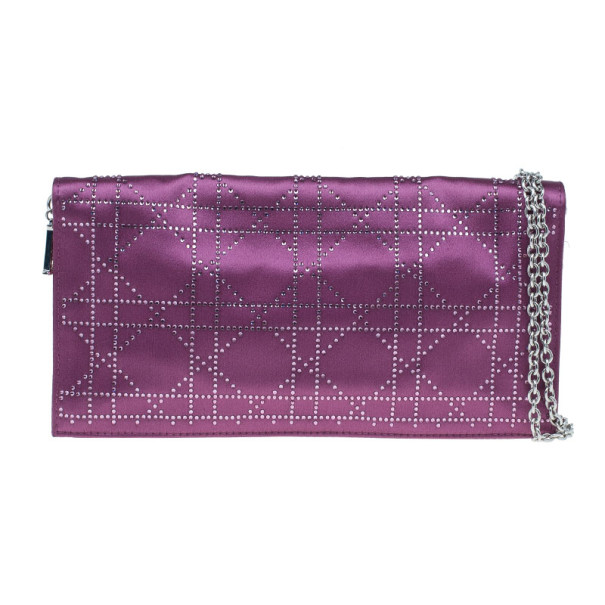 Dior Purple Satin Cannage Clutch