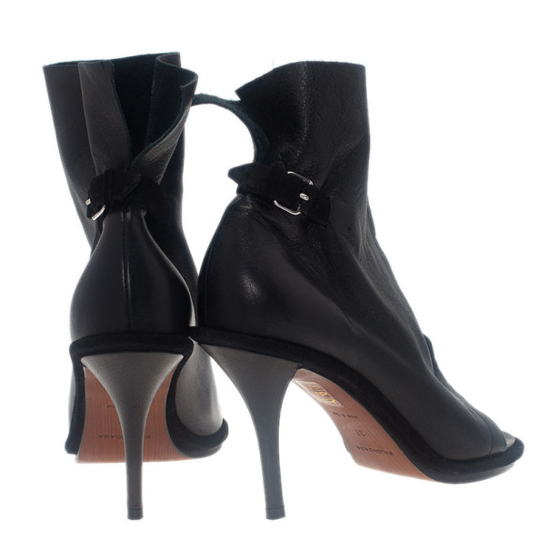 Balenciaga Black Leather Glove Ankle Boots Size 37