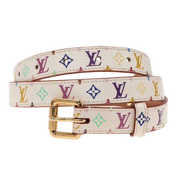 Louis Vuitton White Multicolor Monogram Canvas Belt 80CM