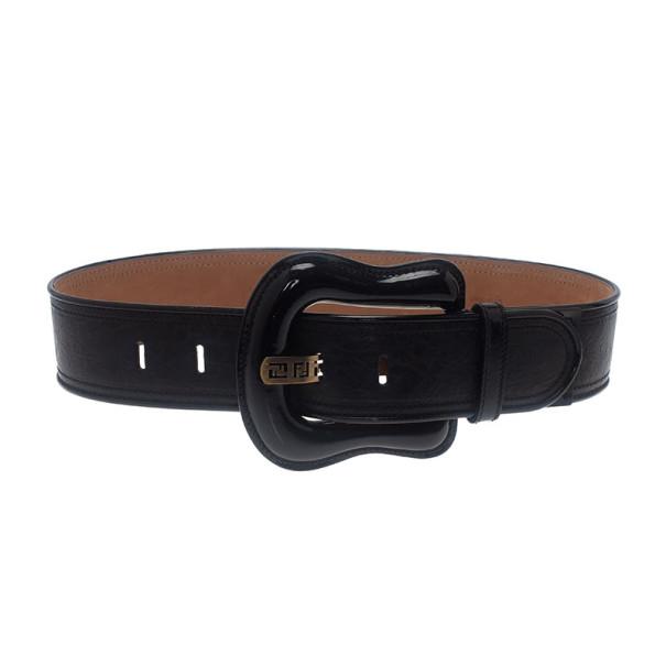 Fendi Black Leather B Buckle Belt 80CM
