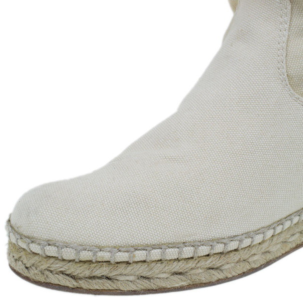 Hermes White Canvas Espadrilles Knee Boots Size 37