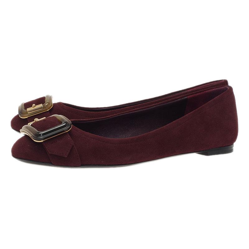 Burberry Burgundy Suede Keswick Buckle Ballet Flats Size 38