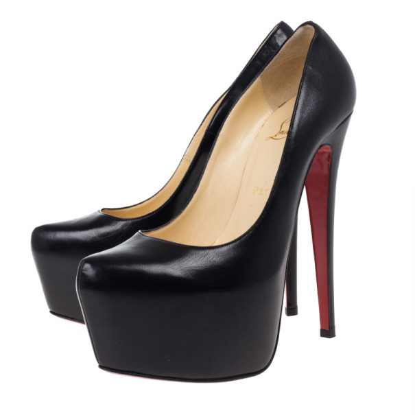 Christian Louboutin Black Leather Daffodile Platform Pumps Size 38