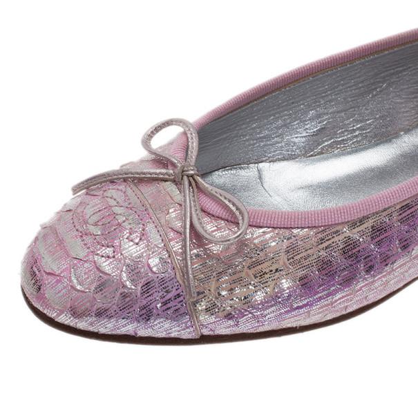 Chanel Pink Metallic Python Ballet Flats Size 37.5