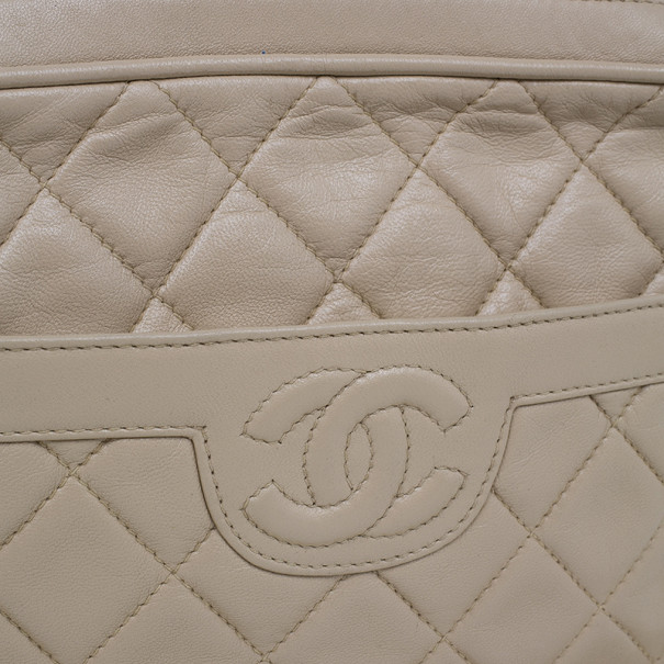 Chanel Beige Lambskin Vintage Tassel Shoulder Bag