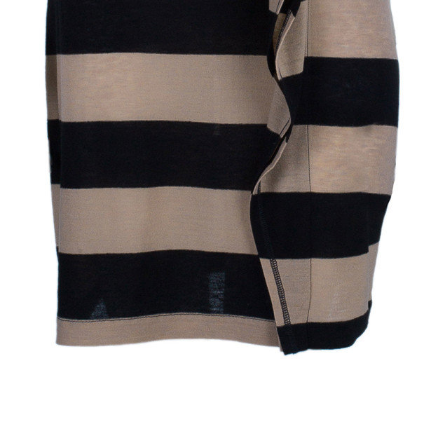 Sonia Rykiel Striped Ruffle Detail Wool Blend Dress XS
