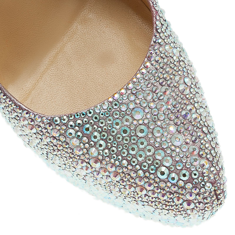Christian Louboutin Silver Crystal Embellished Suede Daffodile Pumps Size 39