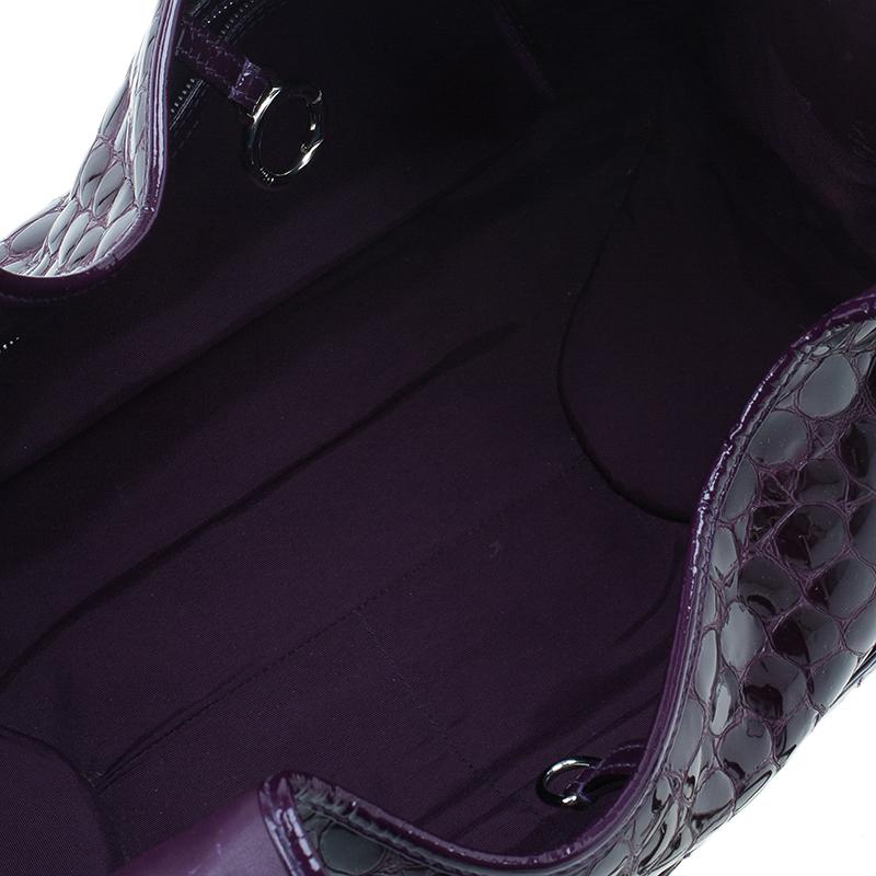 Dior Purple Croc Embossed Patent Leather 61 Tote Bag