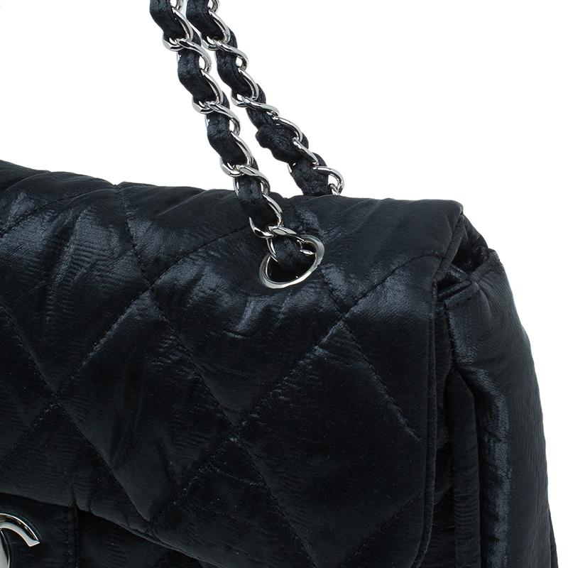 Chanel Black Washed Leather Shoulder Flap Bag