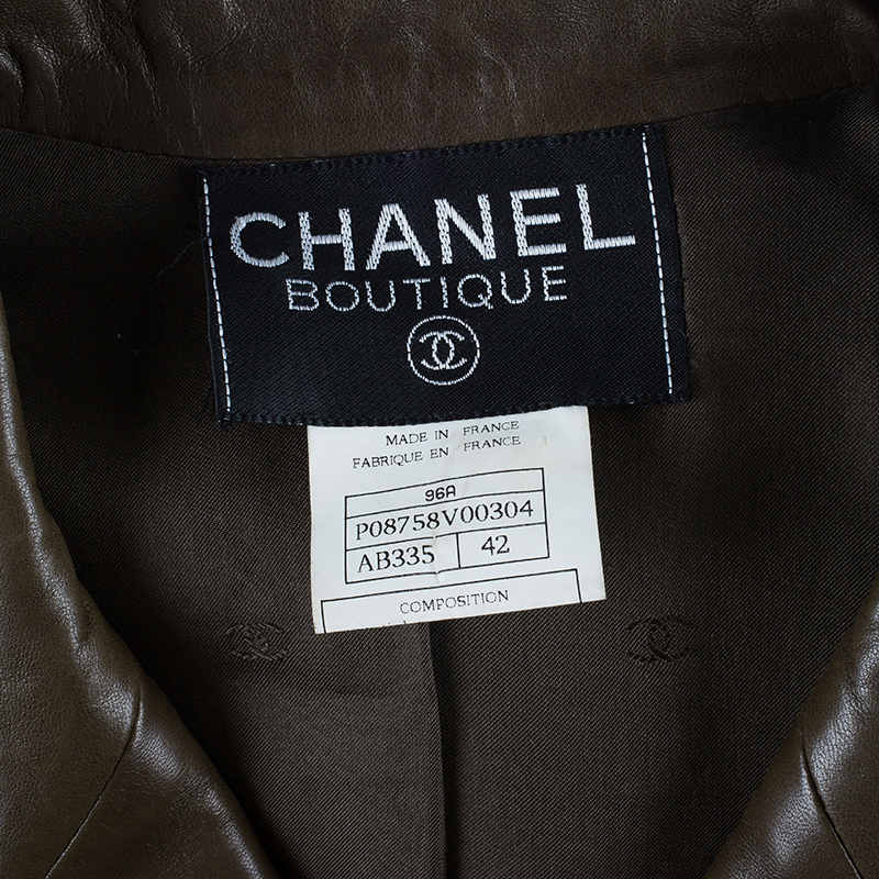 Chanel Brown Millitary Leather Jacket L