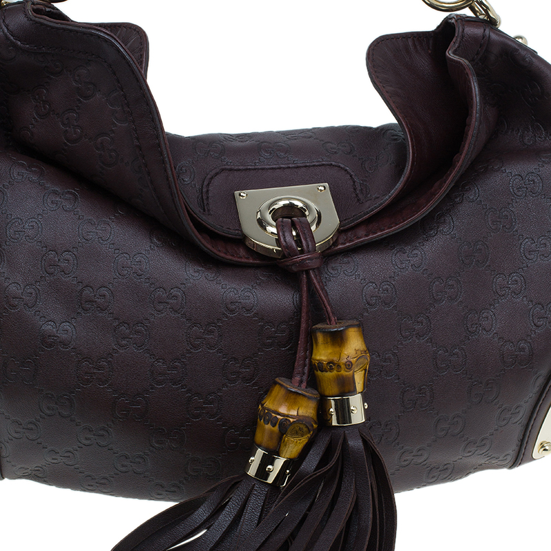 Gucci Brown Guccissima Leather Medium Indy Top Handle Hobo Bag