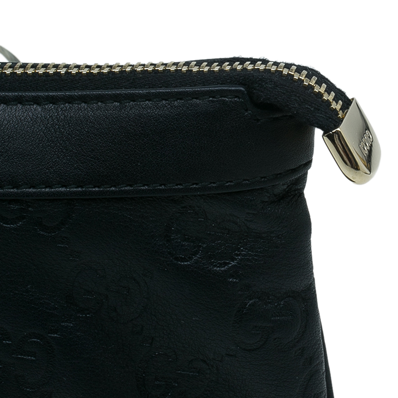 Gucci Black Guccissima Leather Wristlet Pochette