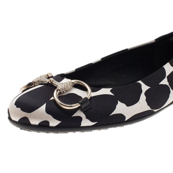 Gucci Polka Dot Satin Crystal Horsebit Ballet Flats Size 36.5