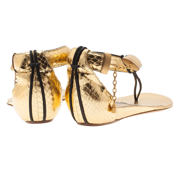 Jimmy Choo Gold Embossed Leather Thong Sandals Size 37