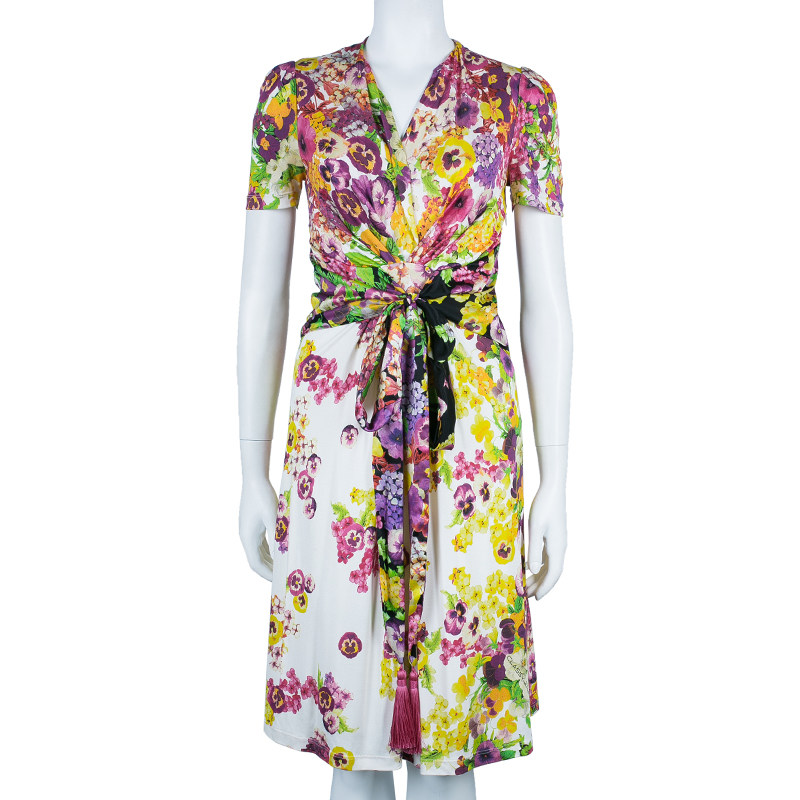 Class by Roberto Cavalli Floral Print Tie-Up Dress S
