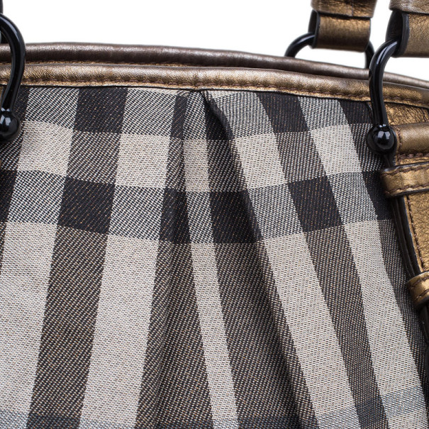 Burberry Nova Check Canvas Shimmer Tote