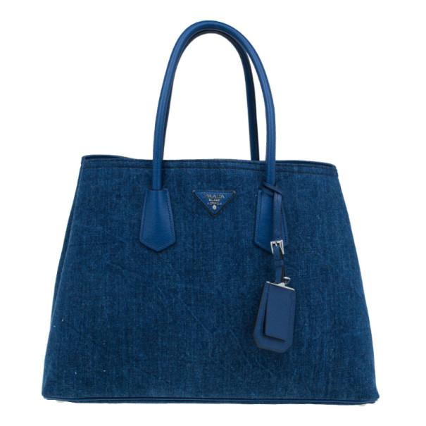 Prada Denim Saffiano Double Cuir Bag