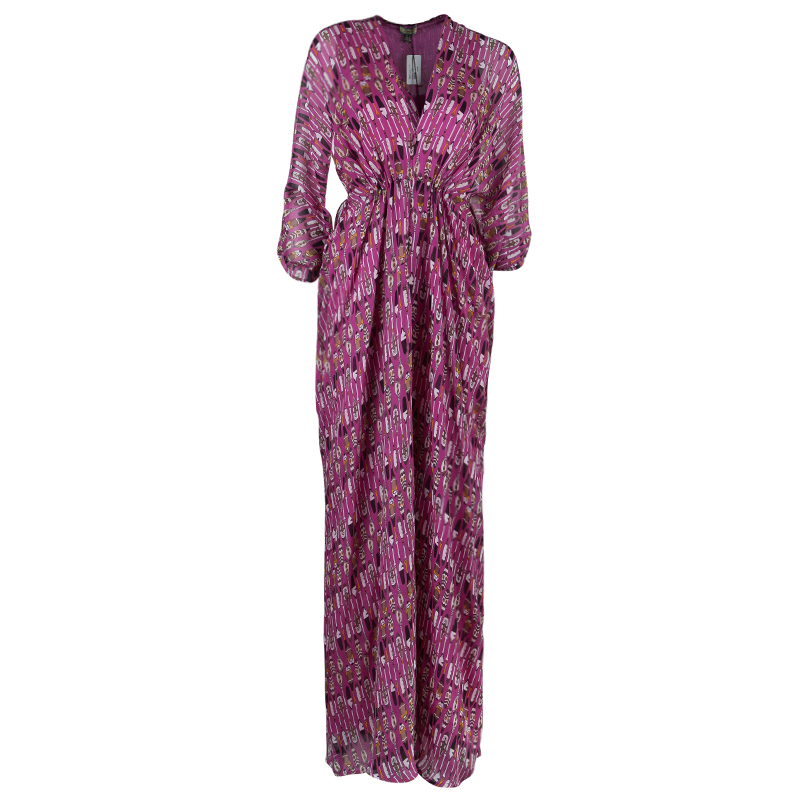Issa Pink Printed Kaftan Dress S
