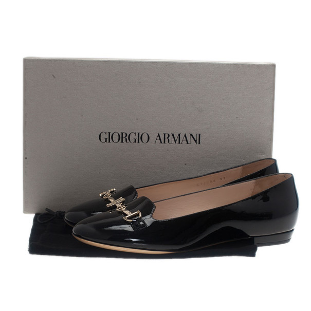 Giorgio Armani Black Patent Embellished Loafers Size 37