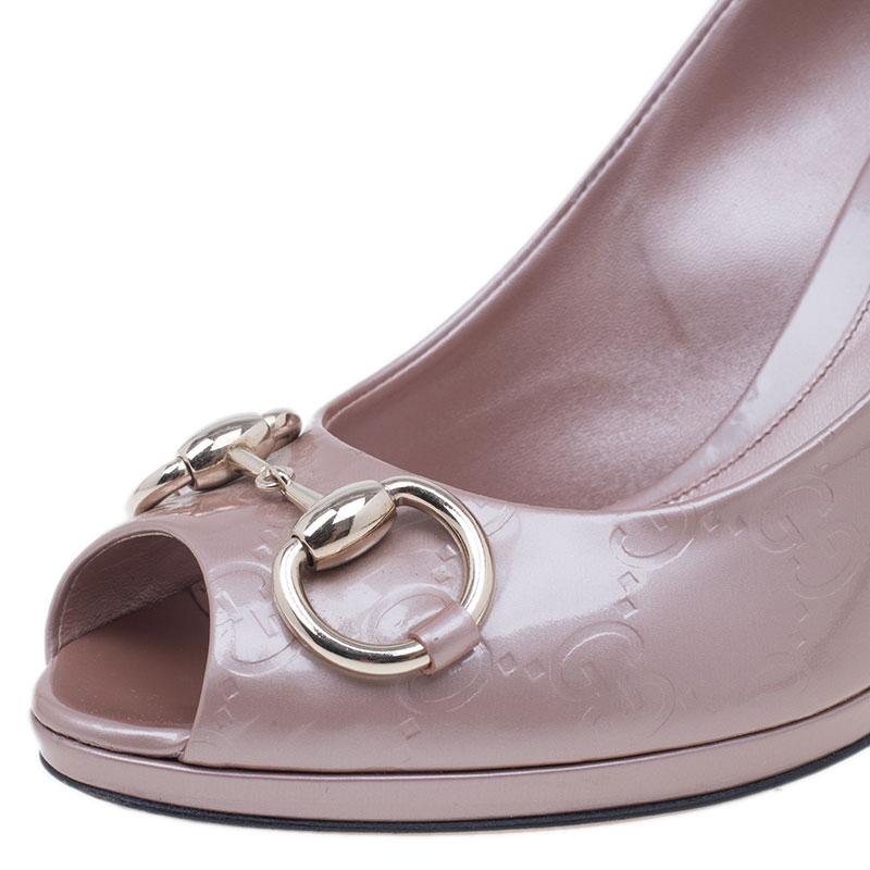 Gucci Pink Metallic Leather New Hollywood Horsebit Peep Toe Pumps Size 38.5
