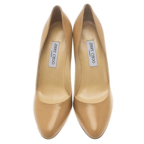 Jimmy Choo Beige Leather Gilbert Pumps Size 42