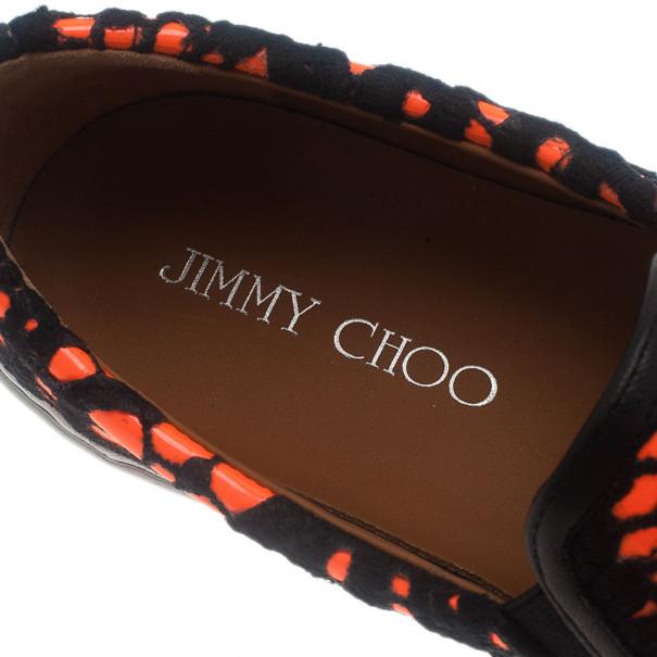 Jimmy Choo Neon Orange Lace Demi Loafers Size 39