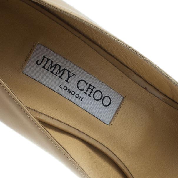 Jimmy Choo Nude Patent Crown Peep Toe Platform Pumps Size 42