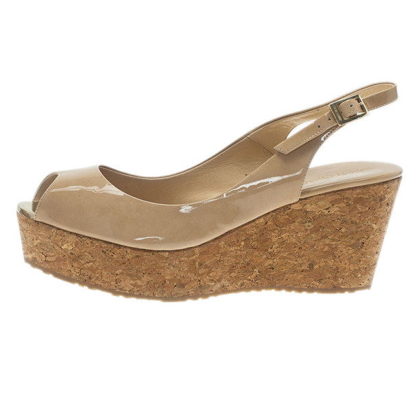 Jimmy Choo Nude Patent Praise Cork Slingback Wedges Size 40