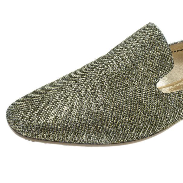 Jimmy Choo Gold Lame Wheel Smoking Slippers Size 40.5