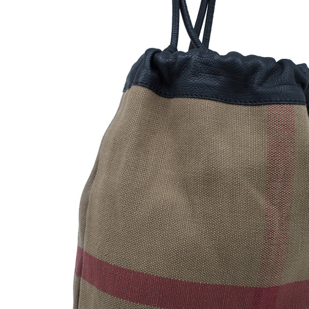 Burberry House Check Canvas Little Drawstring Duffel Bag