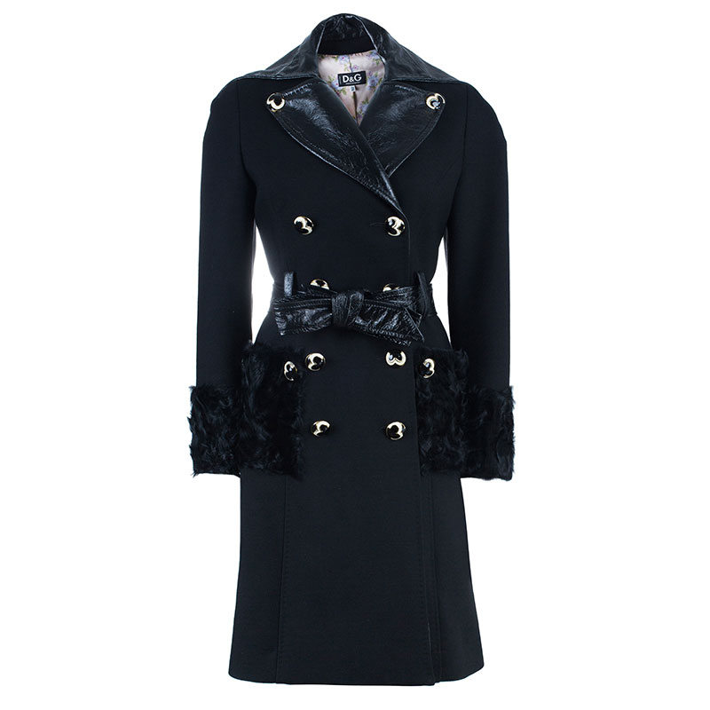 D and G Black Leather And Fur Trimming Coat S