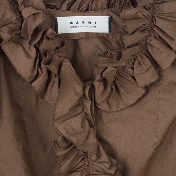 Marni Brown Ruffle Detail Cotton Blouse S