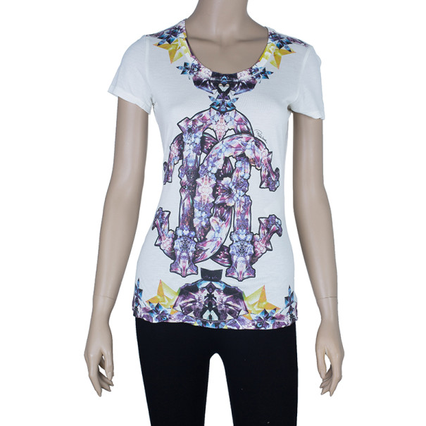 Roberto Cavalli Scoop Neck Printed T-Shirt S
