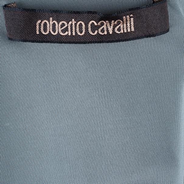 Roberto Cavalli Grey Viscose Snakeprint Top M