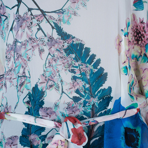 Roberto Cavalli Silk Floral Belted Kaftan Top M