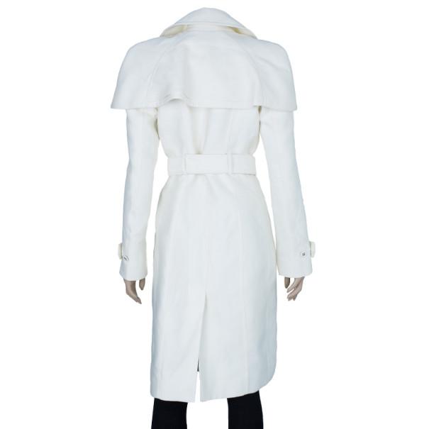 Burberry Prorsum White Capelet Trench Coat S