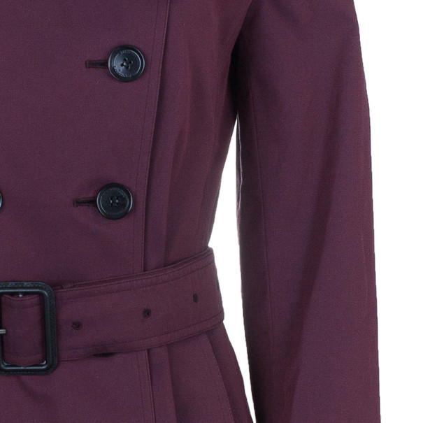 Burberry Burgundy Embellished Long Trench Coat S