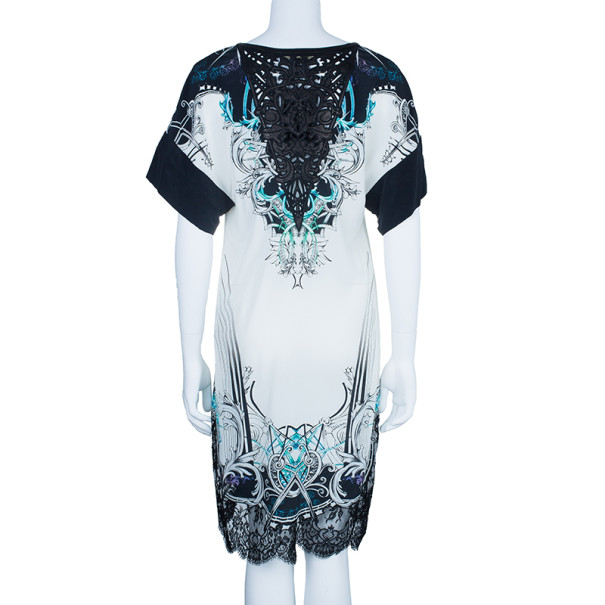 Roberto Cavalli Abstract Printed Laser-Cut Detail Dress S