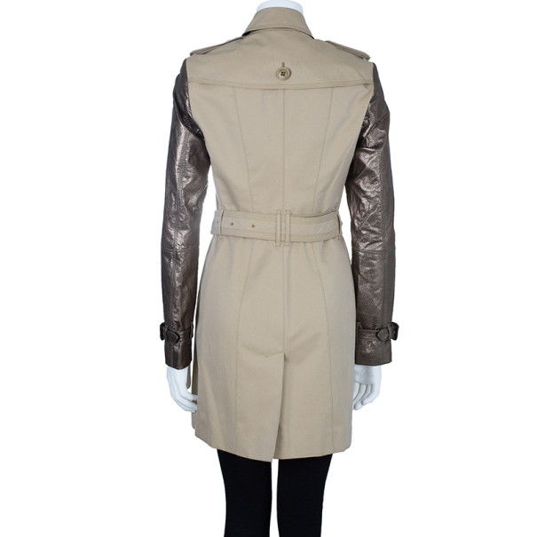 Burberry Taupe Metallic Trench Coat S