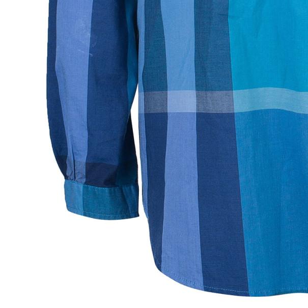 Burberry Blue Check Cotton Tunic Top M