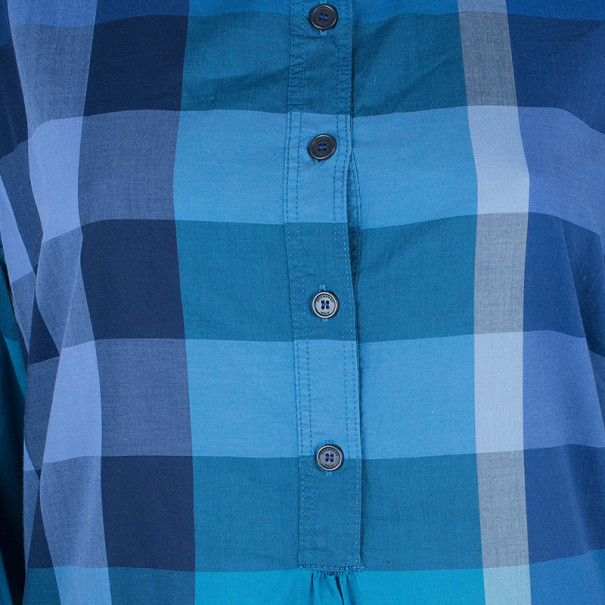 Burberry Blue Check Cotton Tunic Top M